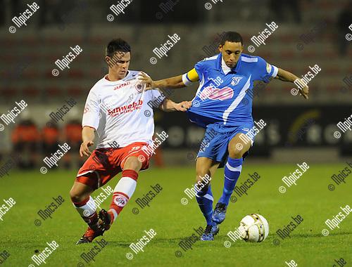 2011-01-19 / voetbal / seizoen 2010-2011 / R. Antwerp FC - Visé / Niels Martin (L, Antwerp) met Vervalle..Foto: mpics