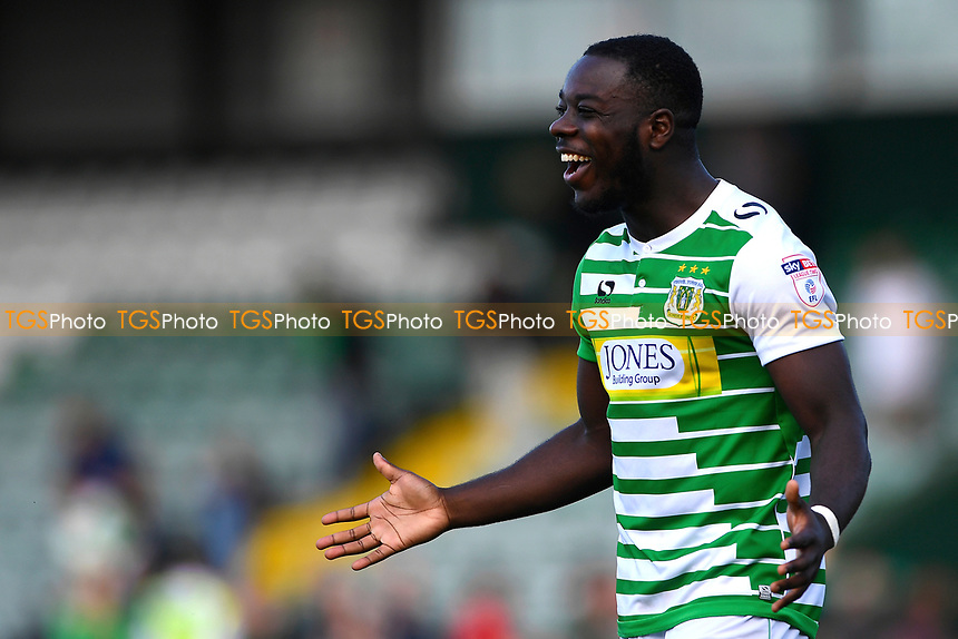 A happy Olufela Olomola of Yeovil Town at the final whistle during Yeovil Town vs Accrington Stanley, Sky Bet EFL League 2 Football at Huish Park on 12th August 2017