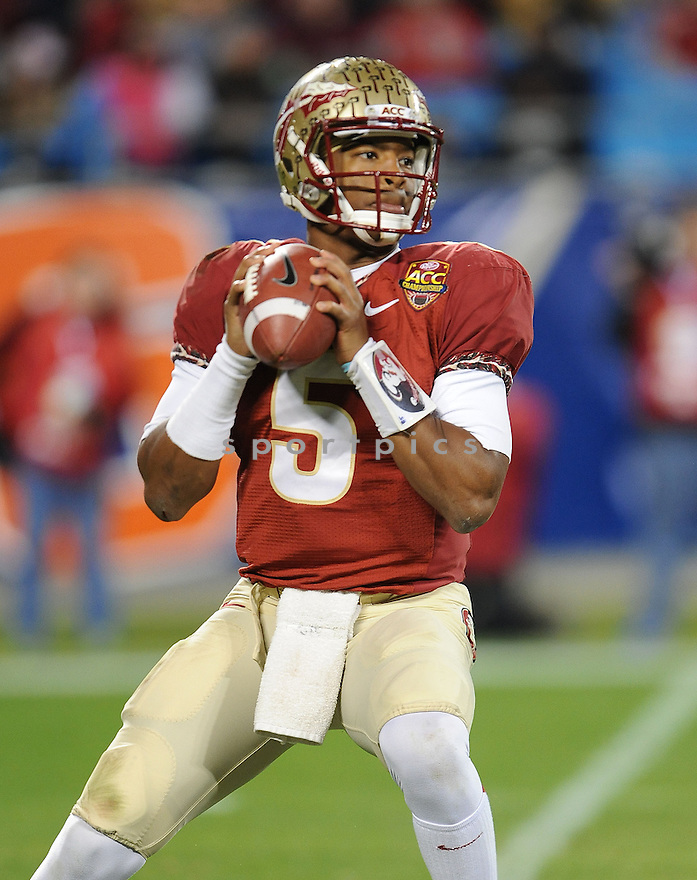 Florida State Seminoles Jameis Winston (5) during a game against the Duke Blue Devils on December 7, 2013 at Bank of America Stadium in Charlotte, NC. Florida State beat Duke 45-7.
