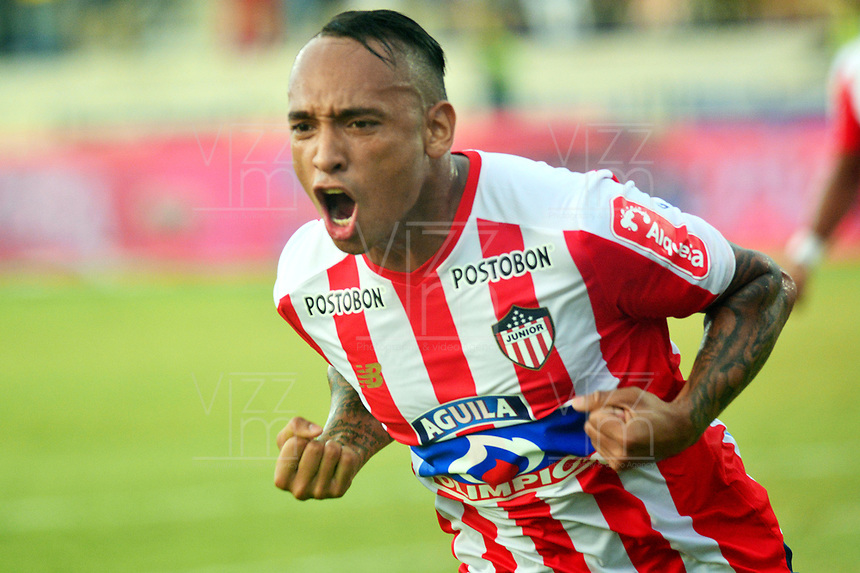 BARRANQUILLA - COLOMBIA, 29-07-2018: Jarlan Barrera, jugador de Atletico Junior celebra el gol anotado a Depotivo Pasto durante partido de la fecha 2 entre Atlético Junior y Deportivo Pasto por la Liga Aguila II 2018, jugado en el estadio Romelio Martínez de la ciudad de Barranquilla. / Jarlan Barrera, player of Atletico Junior celebrates a scored goal to Depotivo Pasto during a match of the of the 2nd date between Atletico Junior and Deportivo Pasto for the Liga Aguila II 2018 at the Romelio Martinez stadium in Barranquilla city, Photo: VizzorImage  / Alfonso Cervantes / Cont.