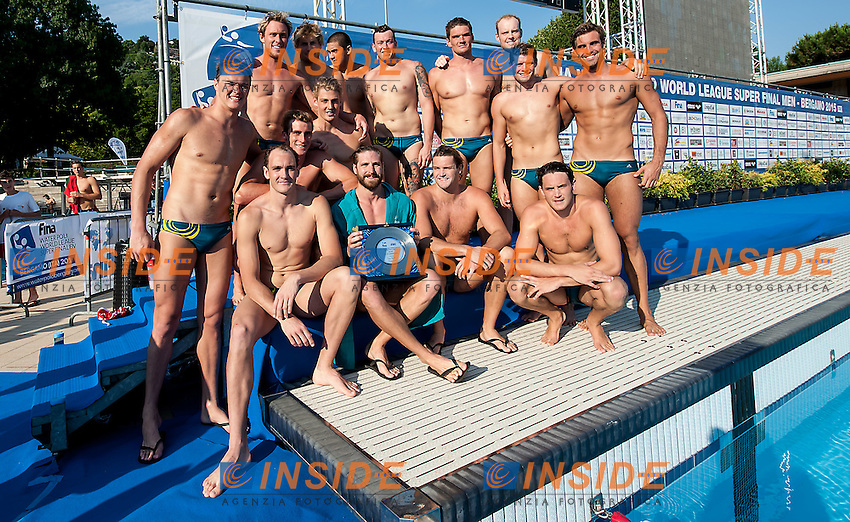 Team Australia<br /> final 6th-5th Australia AUS  (white) - Hungary HUN (blue)<br /> day 06 - 28/06/2015<br /> FINA Water Polo World League Superfinal Men<br /> Bergamo (ITA) 23-28 June 2015<br /> Photo G.Scala/Deepbluemedia