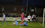 Atherton Collieries 1, Boston United 0, 23/11/19. Alder House, FA Trophy, third qualifying round. Home players celebrating Mike Brewster's late winning goal as Atherton Collieries played Boston United in the FA Trophy third qualifying round at the Skuna Stadium. The home club were formed in 1916 and having secured three promotions in five season played in the Northern Premier League premier division. This was the furthest they had progressed in the FA Trophy and defeated their rivals from the National League North by 1-0, Mike Brewster scoring a late winner watched by a crowd of 303 spectators. Photo by Colin McPherson.