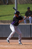 Colorado Rockies Emerson Jimenez (9) during an instructional league game against the SK Wyverns on October 10, 2015 at the Salt River Fields at Talking Stick in Scottsdale, Arizona.  (Mike Janes/Four Seam Images)