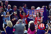 Delegates celebrate on the floor prior to the fifth session at the 2016 Republican National Convention held at the Quicken Loans Arena in Cleveland, Ohio on Thursday, July 21, 2016.<br /> Credit: Ron Sachs / CNP<br /> (RESTRICTION: NO New York or New Jersey Newspapers or newspapers within a 75 mile radius of New York City)