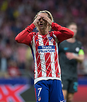 Atletico Madrid´s French forward Antoine Griezmann lamenting during the UEFA Champions League group C match between Atletico Madrid and Chelsea played at the Wanda Metropolitano Stadium in Madrid, on September 27th 2017.