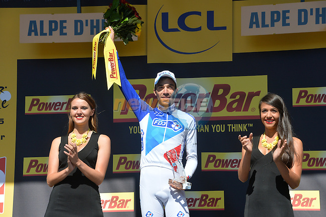 Thibaut PINOT (FRA) FDJ wins Stage 20 of the 2015 Tour de France running 110.5km from Modane Valfrejus to Alpe d'Huez, France. 25th July 2015.<br /> Photo: ASO/G.Demouveaux/Newsfile