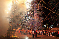 """The """"Castillos"""" or castles of Tultepec is a yearly tradition where the town, 90% of which works making artisanal fireworks, celebrates its patron sant San Juan de Dios, also the patron saint of firemen.  Tultepec, Estado de Mexico, Mexico."""