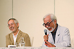 (L ro R) Toshio Suzuki, Hayao Miyazaki, September 6, 2013, Tokyo, Japan: Director Hayao Miyazaki announces his retirement from the animation industry during a press conference in Tokyo, Japan. Miyazaki co-founded studio Ghibli in 1985, after working for Toei Animation. His first movie was Laputa: Castle in the Sky from 1986; since then he worked personally on 11 feature movies. His last movie The Wind Rises(Jap: Kaze-tachinu) which is already a box office hit in Japan, was presented at Venice Film Festival last Sunday September 1st and will be screened worldwide. The movie, about the Japanese aircraft designer Jiro Horikoshi, who designed the Zero, the Japanese fighter plane used in World War Two, is already considered a masterpiece, as well as Miyazaki cultural testament. (Photo by Yusuke Nakanishi/AFLO)