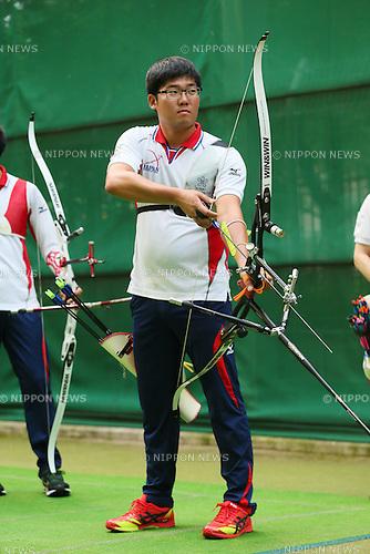Takaharu Furukawa (JPN), <br /> JULY 18, 2015 - Archery : <br /> Japan National Team Training <br /> for The World Archery Championships 2015 <br /> at JISS Archery Field, Tokyo, Japan. <br /> (Photo by YUTAKA/AFLO SPORT)