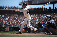 SAN FRANCISCO, CA - JUNE 28:  Joe Panik #12 of the San Francisco Giants bats against the Colorado Rockies during the game at AT&T Park on Thursday, June 28, 2018 in San Francisco, California. (Photo by Brad Mangin)