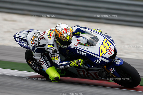February 5, 2010 - Kuala Lampur, Malaysia - Italian rider Valentino Rossi (Fiat Yamaha Team) powers his bike for testing on Sepang International Circuit on February 5, 2010. (Photo Andrew Northcott/Nippon News)