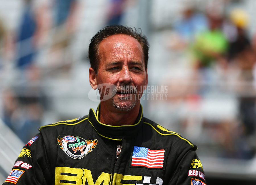 Jun 21, 2015; Bristol, TN, USA; NHRA top fuel driver Troy Buff during the Thunder Valley Nationals at Bristol Dragway. Mandatory Credit: Mark J. Rebilas-