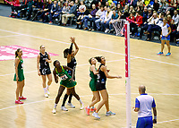 20.01.2019 Silver Ferns in action during the Silver Ferns v South Africa netball test match at the Copper Box Arena, London. Mandatory Photo Credit ©Michael Bradley Photography/Ben Queenborough.20.01.2019 Maria Folau of the Silver Ferns  during the Silver Ferns v South Africa netball test match at the Copper Box Arena, London. Mandatory Photo Credit ©Michael Bradley Photography/Ben Queenborough.