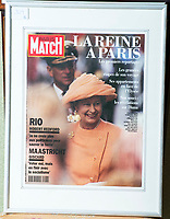 BNPS.co.uk (01202 558833)<br /> Pic: PhilYeomans/BNPS<br /> <br /> This design for the Queen appeared on the cover of Paris Match after a Royal visit to France.<br /> <br /> A remarkable 'time warp' Royal archive amassed by the Queen's dressmaker has been found inside his old country home.<br /> <br /> The late Ian Thomas was a dress designer for members of the Royal Family, including Her Majesty, for over 30 years.<br /> <br /> As an apprentice he worked alongside the renowned fashion designer Norman Hartnell on creating the Queen's coronation dress in 1953.<br /> <br /> His archive includes embroidered samples of the gown worn by Elizabeth II for the historic ceremony in Westminster Abbey that was broadcast to millions.<br /> <br /> Mr Thomas also designed outfits for the Queen Mother and Princess Margaret.