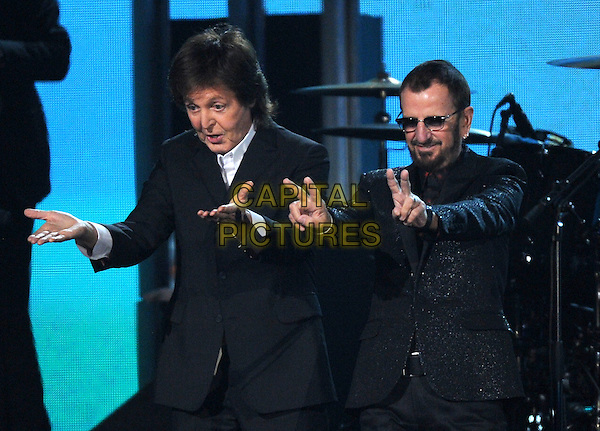 LOS ANGELES, CA - JANUARY 26 : Paul McCartney (L) and Ringo Starr perform onstage at The 56th Annual GRAMMY Awards at Staples Center on January 26, 2014 in Los Angeles, California. <br /> CAP/MPI/PG<br /> &copy;PGFMicelotta/MediaPunch/Capital Pictures