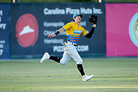 Rapidos de Kannapolis left fielder Romy Gonzalez (6) makes a running catch during the game against the Greensboro Grasshoppers at Kannapolis Intimidators Stadium on June 14, 2019 in Kannapolis, North Carolina. The Grasshoppers defeated the Rapidos de Kannapolis 4-1. (Brian Westerholt/Four Seam Images)