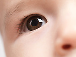Closeup of an eye of a six month old baby boy