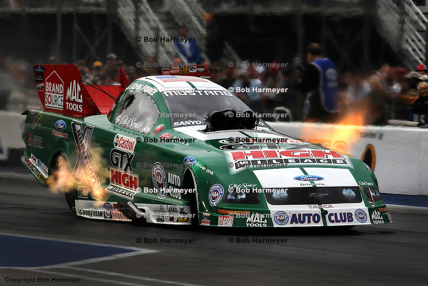 BRISTOL, TN - MAY 18: John Force drives his Funny Car during the OReilly NHRA Thunder Valley Nationals on May 18, 2008, at Bristol Dragway near Bristol, Tennessee.
