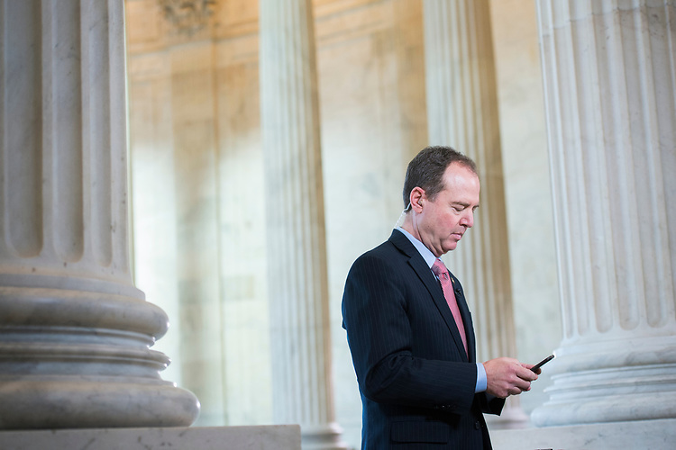 UNITED STATES - MARCH 23: Rep. Adam Schiff, D-Calif., ranking member of the House Intelligence Committee, prepares for a television interview in Russell Building, March 23, 2017. (Photo By Tom Williams/CQ Roll Call)