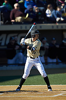 Patrick Frick (5) of the Wake Forest Demon Deacons at bat against the Gardner-Webb Runnin' Bulldogs at David F. Couch Ballpark on February 18, 2018 in  Winston-Salem, North Carolina. The Demon Deacons defeated the Runnin' Bulldogs 8-4 in game one of a double-header.  (Brian Westerholt/Four Seam Images)