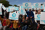 Supporters cheering Nigel Farage MEP as he speaks on stage at a Brexit Party event in Chester, Cheshire. Mr Farage gave the keynote speech and was joined on the platform by his party colleague Ann Widdecombe, the former Conservative government minister. The event was attended by around 300 people and was one of the first since the formation of the Brexit Party by Nigel Farage in Spring 2019.