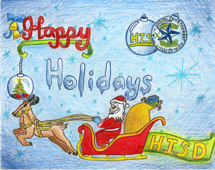 Holiday card designed by Celine Huang of T.H. Rogers Elementary School.