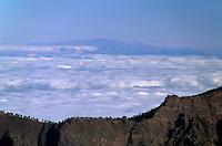 Spanien, Kanarische Inseln, La Palma, Blick vom Roque de los Muchachos