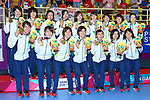 Japan team group (JPN), <br /> AUGUST 30, 2018 - Handball : <br /> Women's Medal ceremony <br /> at GOR Popki Cibubur <br /> during the 2018 Jakarta Palembang Asian Games <br /> in Jakarta, Indonesia. <br /> (Photo by Naoki Nishimura/AFLO SPORT)