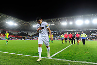 Jefferson Montero of Swansea City leaves the pitch dejected at full time during the Sky Bet Championship match between Swansea City and West Bromwich Albion at the Liberty Stadium in Swansea, Wales, UK. Wednesday 28 November 2018