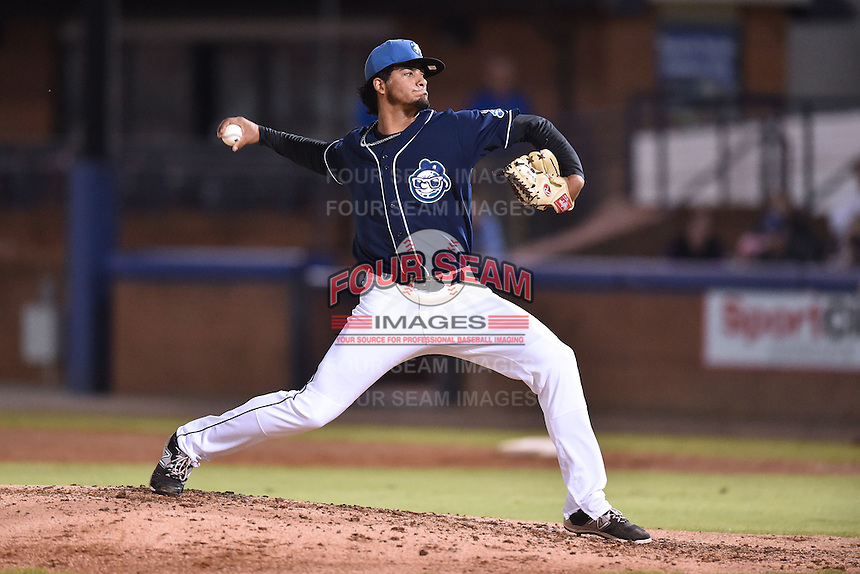 Asheville Tourists pitcher Jesus Tinoco (34) delivers a pitch during game 3 of the South Atlantic League Championship Series between the Asheville Tourists and the Hickory Crawdads on September 17, 2015 in Asheville, North Carolina. The Crawdads defeated the Tourists 5-1 to win the championship. (Tony Farlow/Four Seam Images)
