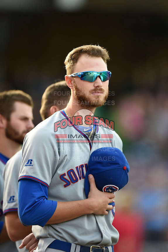 South Bend Cubs first baseman Matt Rose (5) during the national anthem before a game against the Dayton Dragons on May 11, 2016 at Fifth Third Field in Dayton, Ohio.  South Bend defeated Dayton 2-0.  (Mike Janes/Four Seam Images)