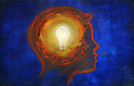 Illustrative image of man with lit bulb in head representing idea