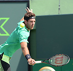 March 27 2017: Juan Martin del Potro (ARG) loses to Roger Federer (SUI) 6-3, 6-4, at the Miami Open being played at Crandon Park Tennis Center in Miami, Key Biscayne, Florida. ©Karla Kinne/tennisclix/EQ