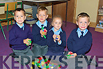 BRICKS: Playing with their bricks at their first day at Scoil Chri?ost Ri? Drumnacurra, Causeway on Friday, l-r: Andrew Butler, Osvaldas Gricius, Lauren Garcia and Cian Diggins..