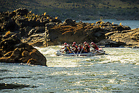 A raft entering Upper Moemba Falls, a class V rapid on the Zambezi River in East Africa.