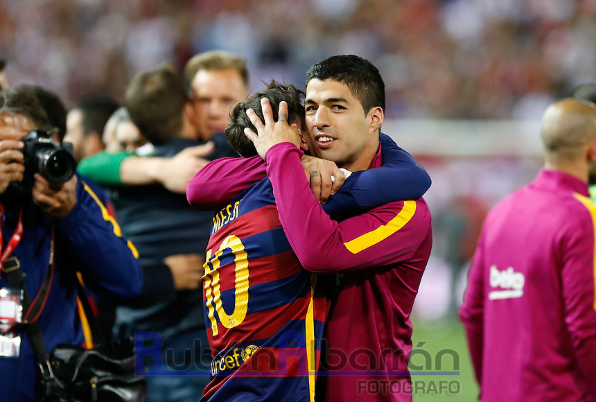 FC Barcelona´s Messi and Suarez  celebrating afer winning the final of Copa del Rey