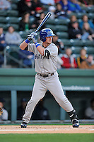 Shortstop Brendan Rodgers (1) of the Asheville Tourists bats in a game against the Greenville Drive on Thursday, April 7, 2016, at Fluor Field at the West End in Greenville, South Carolina. Greenville won, 4-3. (Tom Priddy/Four Seam Images)
