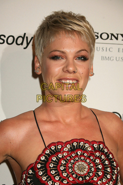 PINK &.Clive Davis 2007 Pre-Grammy Awards Party at the Beverly Hilton Hotel, Beverly Hills, USA..February 10th, 2007.pinnk headshot portrait nose ring piercing diamond tooth teeth red detail gold silver.CAP/ADM/BP.©Byron Purvis/AdMedia/Capital Pictures