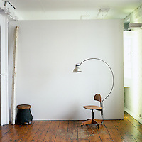 The hybrid of an Arco lamp and an Edwardian secretary's chair is by Tristan Pranyko