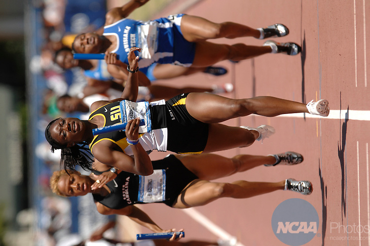 09 JUNE 2007: Deonna Lawrence of LSU leads the field of runners in the women's 4X400 meter race during the Division I Men's and Women's Track and Field Championship held at the Alex G. Spanos Sports Complex in Sacramento, CA. LSU won the race with a time of 3:28.07. Stephen Nowland/NCAA Photos.