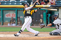 Roberto Lopez (30) of the Salt Lake Bees at bat against the Sacramento River Cats at Smith's Ballpark on June 6, 2014 in Salt Lake City, Utah.  (Stephen Smith/Four Seam Images)