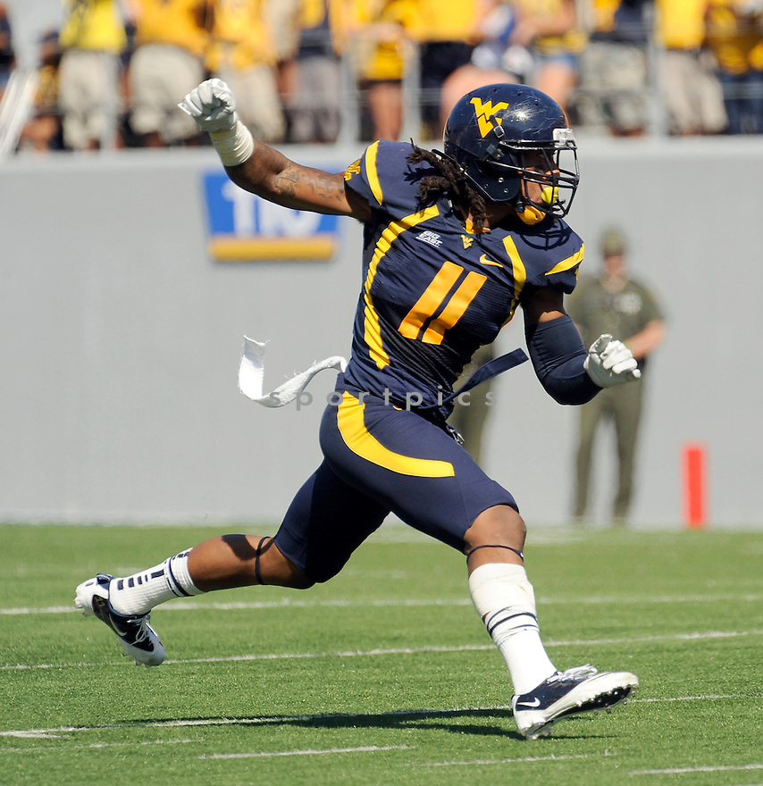 BRUCE IRVIN, of the West Virginia Mountaineers, in action during West Virginia's game against the UConn Huskies on October 8, 2011 at Milan Puskar Stadium in Morgantown, WV. West Virginia beat UConn 43-16.