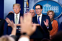 United States Secretary of the Treasury Steven T. Mnuchin delivers remarks alongside US President Donald Trump, US Vice President Mike Pence, and Dr. Deborah L. Birx, White House Coronavirus Response Coordinator, during a briefing on the Coronavirus COVID-19 pandemic in the Brady Press Briefing Room at the White House in Washington, DC, March 17, 2020, in Washington, D.C. <br /> Credit: Kevin Dietsch / Pool via CNP/AdMedia