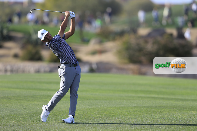 Xander Schauffele (USA) on the 15th fairway during the 1st round of the Waste Management Phoenix Open, TPC Scottsdale, Scottsdale, Arisona, USA. 31/01/2019.<br /> Picture Fran Caffrey / Golffile.ie<br /> <br /> All photo usage must carry mandatory copyright credit (© Golffile | Fran Caffrey)