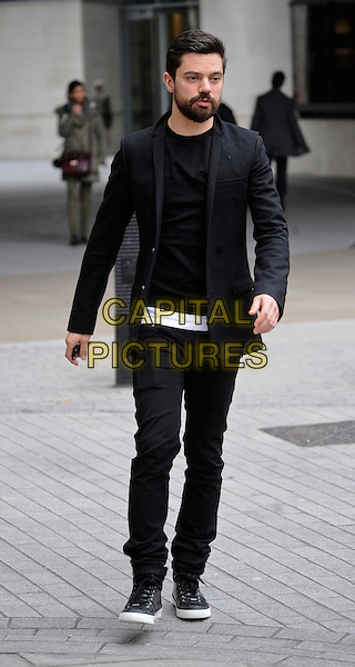 LONDON , ENGLAND - FEBRUARY 24 ; Dominic Cooper leaving BBC Radio 1 London , England, on Monday, February 24th, 2014. <br /> CAP/IA<br /> &copy;Ian Allis/Capital Pictures