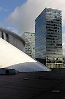 Eu-Bürotürme und Philharmonie an der Place d'Europe auf em Kirchberg, Architekt Christian de Portzamparc, Stadt Luxemburg, Luxemburg