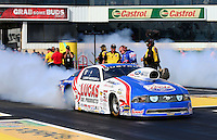 May 31, 2013; Englishtown, NJ, USA: NHRA pro stock driver Larry Morgan during qualifying for the Summer Nationals at Raceway Park. Mandatory Credit: Mark J. Rebilas-