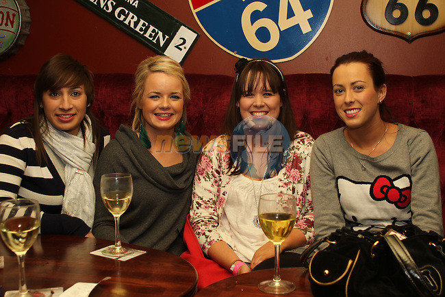 Francesca Fernandes, Aislinn Brennan, Laura McEvoy and Ceara Ryan on Christmas Eve in Hogs and Heiffers. ..(Photo credit should read Jenny Matthews www.newsfile.ie)....This Picture has been sent you under the conditions enclosed by:.Newsfile Ltd..The Studio,.Millmount Abbey,.Drogheda,.Co Meath..Ireland..Tel: +353(0)41-9871240.Fax: +353(0)41-9871260.GSM: +353(0)86-2500958.email: pictures@newsfile.ie.www.newsfile.ie.