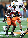 Oklahoma State Cowboys running back Kendall Hunter (24) watches as a pass is thrown down field in the game between the Oklahoma State Cowboys and the University of Texas in Austin Texas Longhorns at the Daryl K. Royal- Texas Memorial Stadium in Austin, Texas. The Oklahoma State Cowboys defeated the Texas Longhorns 33 to 16.