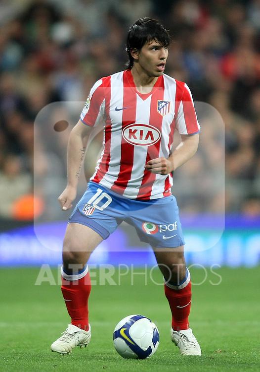 Atletico de Madrid's Kun Aguero during La Liga match. March 07 2009. .(ALTERPHOTOS/Acero).